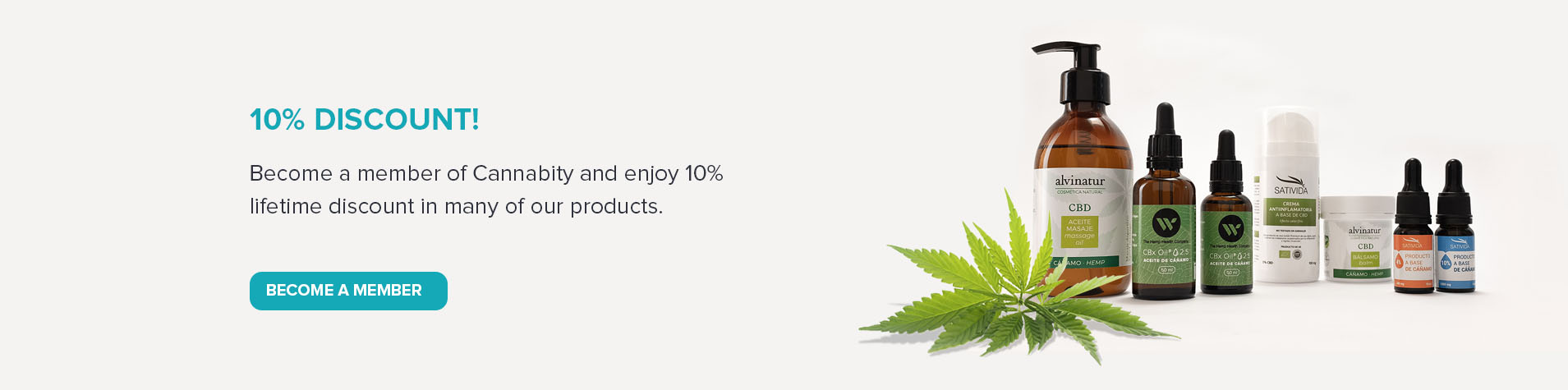 banner 10% discount for members cannabity healthcare